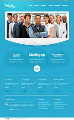 blue web design- Scrap the blue but with a fresh color scheme the layout is solid.