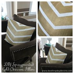 Looking for a little sparkle and glam? Try spraypainting some pillow covers using gold metallic spraypaint in a chevron pattern. Inexpensive and easy!