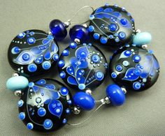 Memory lane Lampwork bead set by Pixie Willow by pixiewillow, $55.00