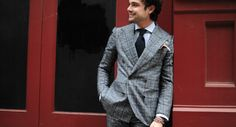 http://chicerman.com  billy-george:  Love this double breasted suit.  Photo by George Elder  #streetstyleformen