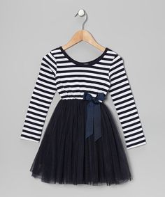 {Navy Stripe A-Line Dress - Toddler & Girls by Designer Kidz}