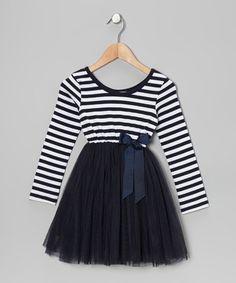 {Navy Stripe A-Line Dress - Toddler & Girls by Designer Kidz}