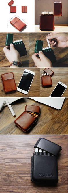 Wooden & Genuine Leather Wood Cigarette Case Box Holder