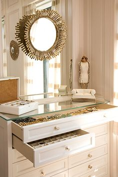 Melanie Fascitelli - closets - sunburst mirror, jewelry cabinet, glass top jewelry cabinet, Chic closet vanity design with sunburst mirror . Jewelry Drawer, Jewelry Cabinet, Jewellery Storage, Jewelry Chest, Jewelry Box, Jewelry Armoire, Jewelry Holder, Jewelry Displays, Hanging Jewelry