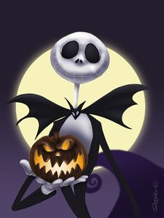Jack Skellington,holding a pumpkin with the moon watching from The Nightmare Before Christmas