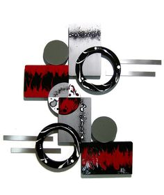 HUGE Ruby Red Black Silver Modern Abstract Art Wall Sculpture wood with Mirror