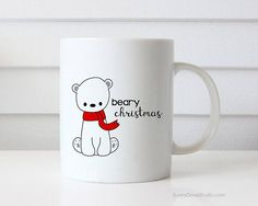 Christmas Mug Gift For Friend Funny Polar Bear Merry Beary Christmas Pun Her Him Coffee Mugs Happy Holidays Holiday Gifts Cute Fun Kawaii Beary Christmas...a fun gift for a friend, sister, brother, the polar bear and pun lovers in your life, really anyone on your holiday list! Send