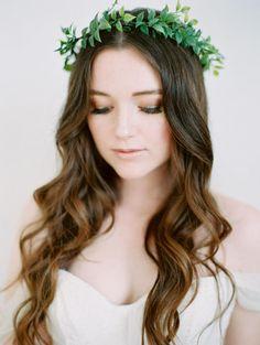 SALE Abiliene-Greenery Crown of whispy green leaves