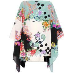 Etro Printed Silk Kaftan (12.550 ARS) ❤ liked on Polyvore featuring tops, tunics, dresses, multicoloured, short-sleeved, caftan tunic, caftan tops, short sleeve silk top, white silk top and silk tunic