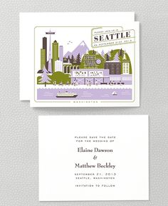 Visit Seattle Save the Date Cards by Hello! Lucky