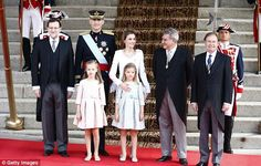 Big moment: Prime Minister Mariano Rajoy (L) stands with King Felipe VI of Spain…