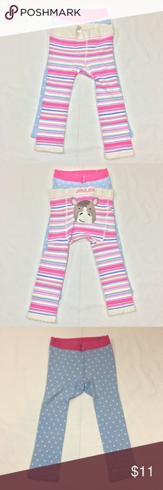 JOULES 2PC KNIT LEGGING/ TIGHT SET JOULES 2PC KNIT LEGGING/ TIGHT SET. STRIPED WITH HORSE AND BLUE AND WHITE POLKA DOT WITH BUNNY. FABRIC: COTTON/ POLYMIDE/ ELASTHANE. CONDITION: GENTLY USED/ SIGNS OF WEAR; MINOR PILLING. SIZE 12-24M Joules Bottoms Leggings
