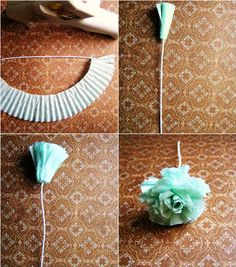 cupcake liner flowers and other ways to use cupcake liners! Handmade Flowers, Diy Flowers, Fabric Flowers, Paper Flowers, Flower Diy, Teal Flowers, Crafts To Make, Fun Crafts, Crafts For Kids