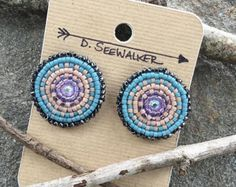 Beaded Stud Earrings with Geometric Pattern in by Charmandculture