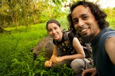 In Galapagos with the giant legendary tortoise