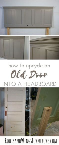 Upcycle an old door into a headboard with this easy DIY project. Add lots of character in no time. Tutorial by Jenni of Roots and Wings Furniture. DIY furniture How to Up-Cycle an Old Door into a Headboard Repurposed Furniture, Cool Furniture, Bedroom Furniture, Furniture Stores, Furniture Outlet, Furniture Online, Office Furniture, Lane Furniture, Furniture Buyers