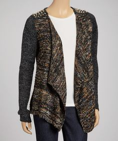 Take a look at this Gray Embellished Open Cardigan by Olivia M on #zulily today!
