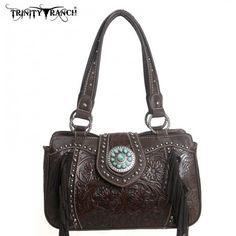 Montana West Trinity Ranch Collection- Genuine Leather Fringe Handbag
