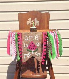 What a cute summer themed high chair banner for a baby girl! Found on Etsy!    Pink Watermelon First Birthday High Chair Banner/One in a Melon/Sweet to be One/Cake Smash/Photo Shoot Prop/Party Decor/Summer Theme/Girl