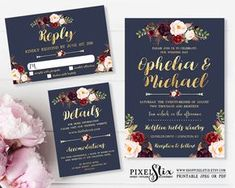 Printable Wedding Invitation Suite, Navy Blue and Gold Foil, Dark Rustic Flowers, Floral Wedding Invite, Burgundy, Marsala, Rose and Peony by shopPIXELSTIX on Etsy