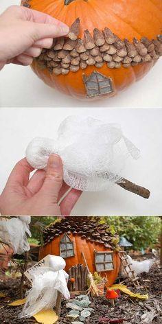 Kids would love to bring Halloween spirit to your outdoor's fairy garden. #minigardens