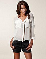 Maise New SS Shirt - Selected Femme - Beige - Blouses & overhemden - Kleding - NELLY.COM Mode online