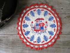 Bavarian Folk Art Designs   Vintage German Folk Art Doily - Round Dresser Doily - Embroidered Pot ...
