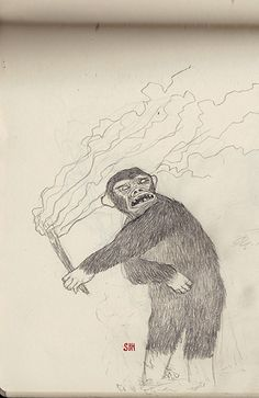 a monkey with fire Monkey, Fire, Illustrations, Jumpsuit, Monkeys, Illustration, At Sign, Illustrators