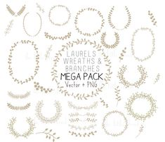 33 Hand Drawn laurels and wreaths