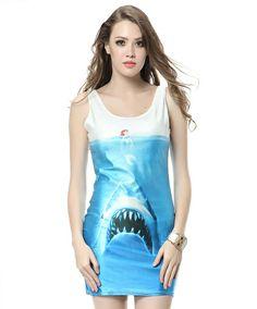 The 2014 Summer burst dresses submarine shark printing vest dress $9.00