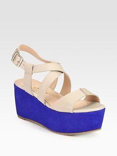 Pour La Victoire - Noele Colorblocked Leather & Suede Wedge Sandals - Saks.com