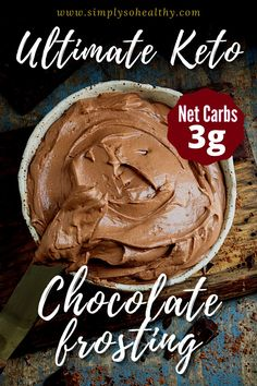 This Keto Chocolate Frosting is a luscious and dreamy frosting that matches perfectly with any chocolate cake or cupcake. This silky cream cheese frosting uses sour cream and heavy whipping cream to make the best fluffy Keto chocolate frosting. This recipe is suitable for those following a #low-carb, #Keto, #Banting, or #Atkins diet. Keto Chocolate Recipe, Keto Chocolate Mousse, Chocolate Cream Cheese Frosting, Chocolate Frosting Recipes, Chocolate Pudding Recipes, Healthy Chocolate, Low Carb Chocolate Cake, Keto Whipped Cream, Keto Cream
