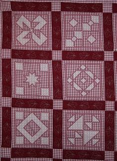 """Hand Embroidered """"Chicken Scratch"""" or """"Gingham Lace"""" Quilt by DS"""
