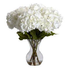 Nearly Natural 1260 Large Hydrangea With Vase Silk Flower Arrangement