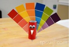 Paint swatch turkey  - write on each of the top feathers things the kids are thankful for