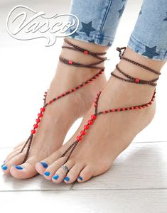 Beach Anklets, Barefoot Shoes, Bare Foot Sandals, Toe Rings, Ankle Bracelets, Glass Beads, Brown, Heels, Feet Jewelry