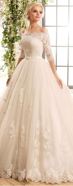 Tulle & Satin Off-the-shoulder Neckline Ball Gown Wedding Dresses With. Marvelous Tulle & Satin Off-the-shoulder Neckline Ball Gown Wedding Dresses With.,Marvelous Tulle & Satin Off-the-shoulder Neckline Ball Gown Wedding Dresses With. Dream Wedding Dresses, Bridal Dresses, Tulle Wedding, Mermaid Wedding, Ball Gown Wedding Dresses, Wedding Dressses, Lace Weddings, Dress Prom, Bridesmaid Dresses