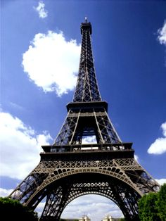 Worms-eye view of Eiffel Tower.