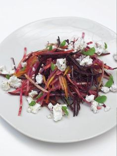 Crunchy raw beetroot salad with feta and pear
