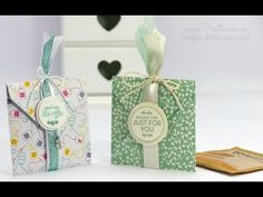 """Homemade For You, Pretty Petals DSP Stack, 1-1/2"""" Circle & 1-3/4"""" Circle punches, Very Vanilla 5/8"""" Satin ribbon, Mint Macaron 1"""" Dotted Lace Trim - Tea Bag Envelope Punch Board Pouch Tutorial"""