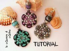 Tutorial Orecchini TANTI AUGURI Superduo/Twin beads, Perle, Bicono Swaro...