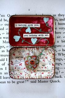 Sweetheart Vintage filled storybox, by Little Burrow Designs.  Upcycled / recycled /reworked vintage sculpture. Textiles, embroidery, mixed media, assemblage, wirework, tin art, altered tin art, www.littleburrowdesigns.co.uk www.facebook.co.uk/littleburrowdesigns