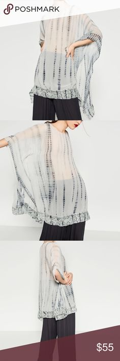 ZARA Hand Embroidered Poncho Brand new with tags. Tie-dye hand embroidered poncho. Zara Sweaters Shrugs & Ponchos