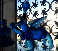 Constantini's blue glass satyr after sketches by Picasso, 1964, at the Peggy Guggenheim Collection in Venice