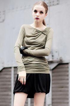#romwe Folded Collar Pleated Coffee-green Thight T-shirt  $48.99 #Romwe