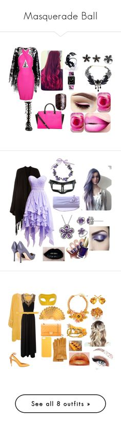 """""""Masquerade Ball"""" by wolfschaffer ❤ liked on Polyvore featuring Pussycat, Raye, MICHAEL Michael Kors, Casetify, Effy Jewelry, NOVICA, Pink, black, masquarade and Accessorize"""