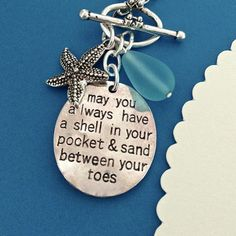 BEACH NECKLACE beach quote starfish sea glass charm by MimiJewels