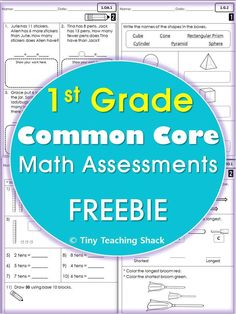 1st grade common core math assessments FREE  Operations and algebraic thinking Number and operations in base ten Measurement and data Geometry