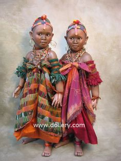 "The ""Maasai Dancers"" from East Africa/Susan Krey Collectible Dolls"