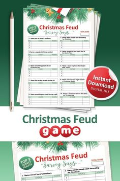 Have some fun this Christmas with our printable Christmas Family Feud game set!